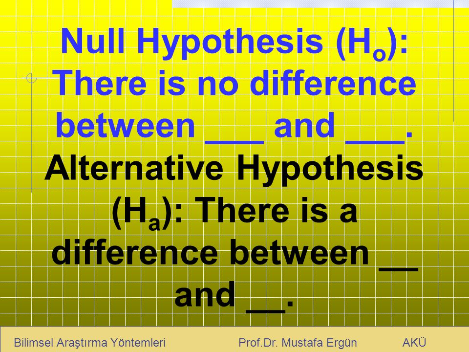 Null Hypothesis (Ho): There is no difference between ___ and ___