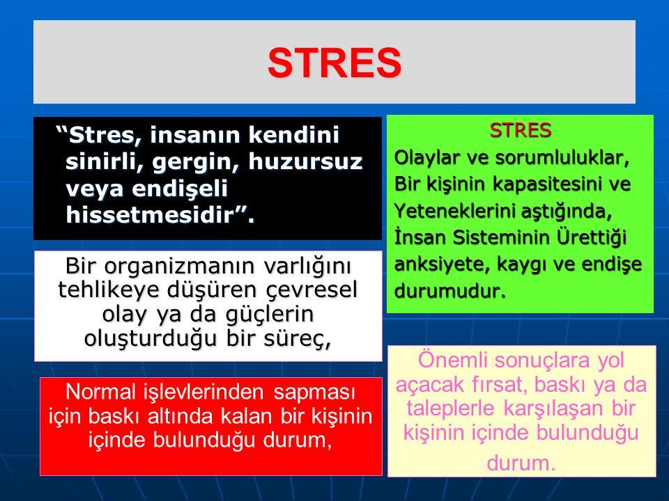 STRES Stres, insanın kendini sinirli, gergin, huzursuz veya endişeli hissetmesidir .