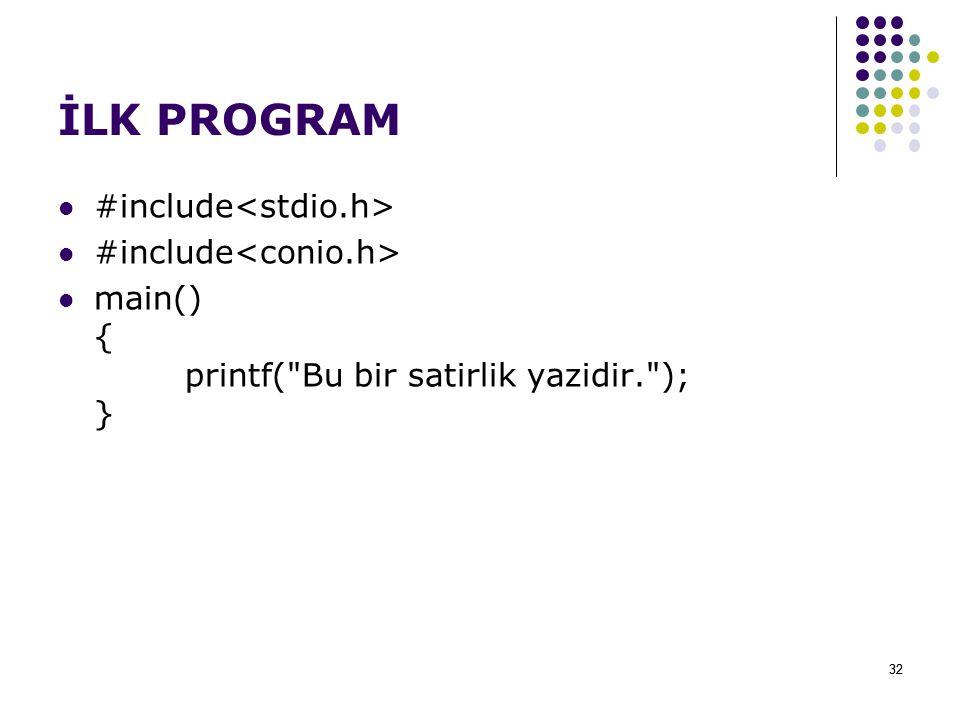 İLK PROGRAM #include<stdio.h> #include<conio.h>