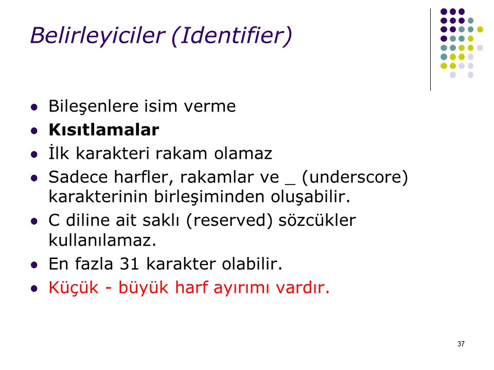 Belirleyiciler (Identifier)