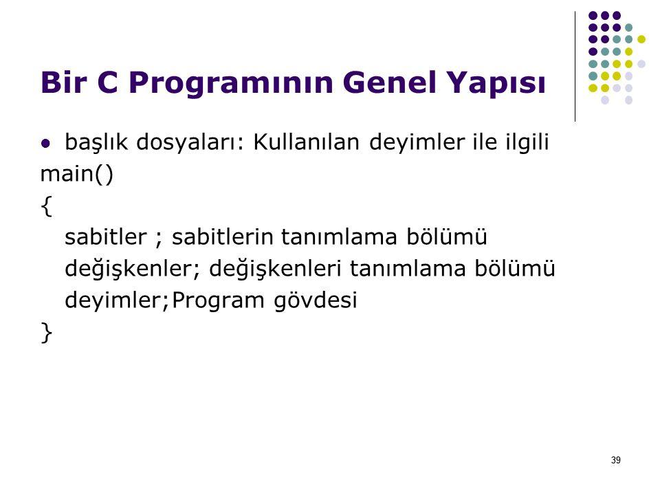 Bir C Programının Genel Yapısı