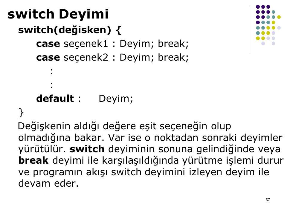 switch Deyimi switch(değisken) { case seçenek1 : Deyim; break;
