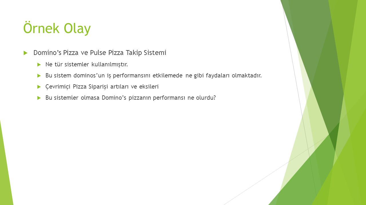Örnek Olay Domino's Pizza ve Pulse Pizza Takip Sistemi