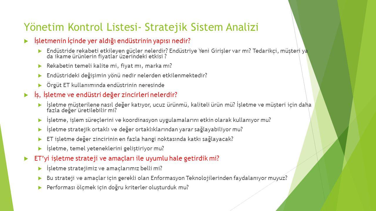 Yönetim Kontrol Listesi- Stratejik Sistem Analizi