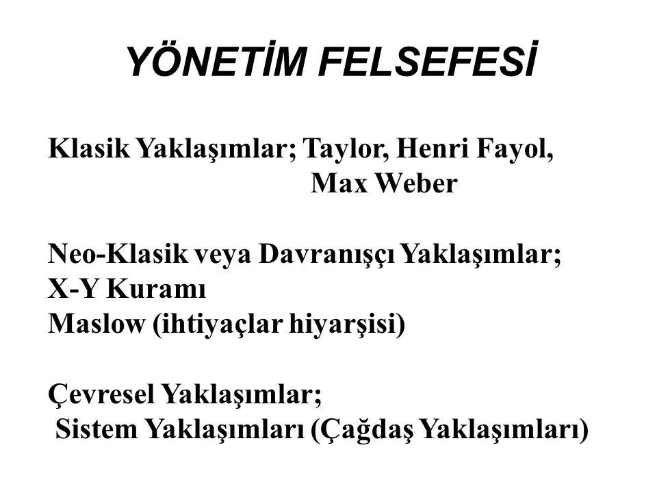 YÖNETİM FELSEFESİ Klasik Yaklaşımlar; Taylor, Henri Fayol, Max Weber