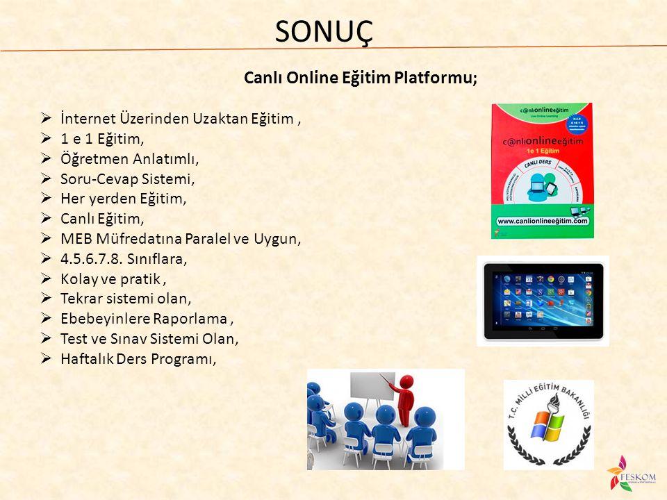 SONUÇ Canlı Online Eğitim Platformu;