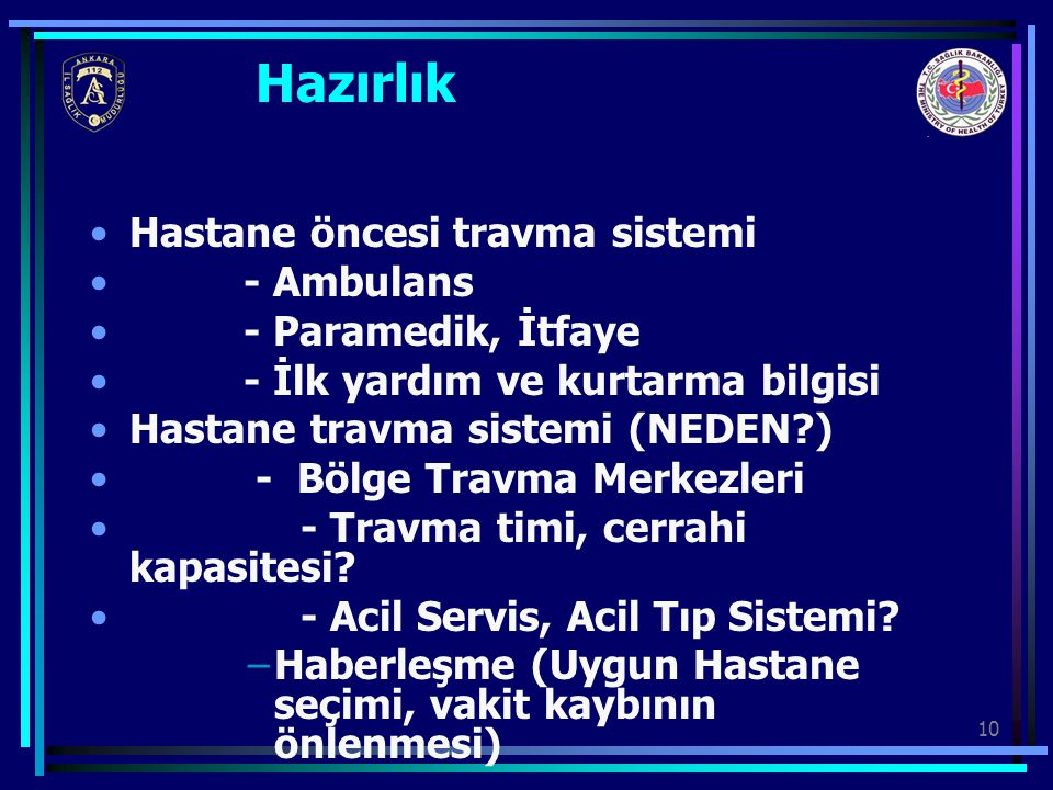 Hazırlık Hastane öncesi travma sistemi - Ambulans - Paramedik, İtfaye