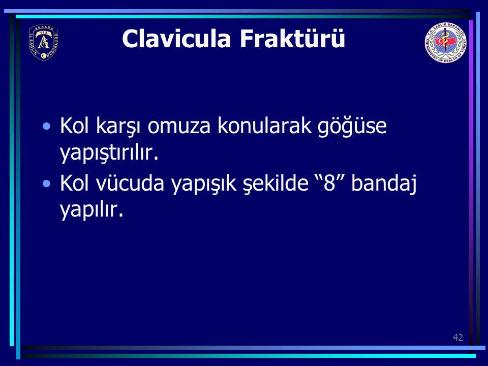 Clavicula Fraktürü Kol karşı omuza konularak göğüse yapıştırılır.