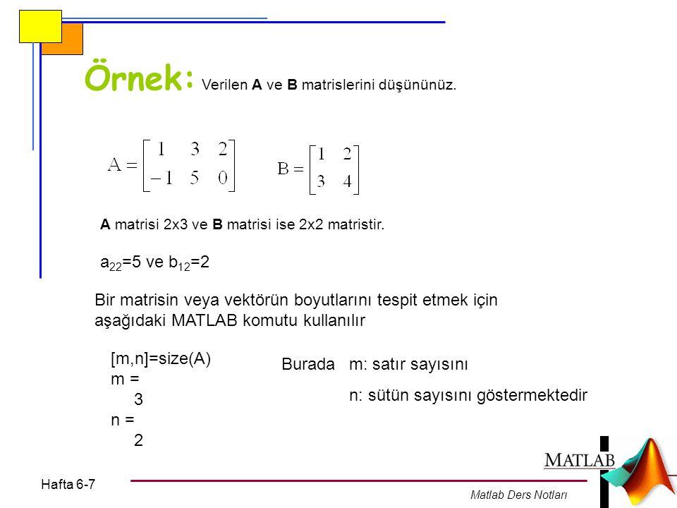 Örnek: Verilen A ve B matrislerini düşününüz.