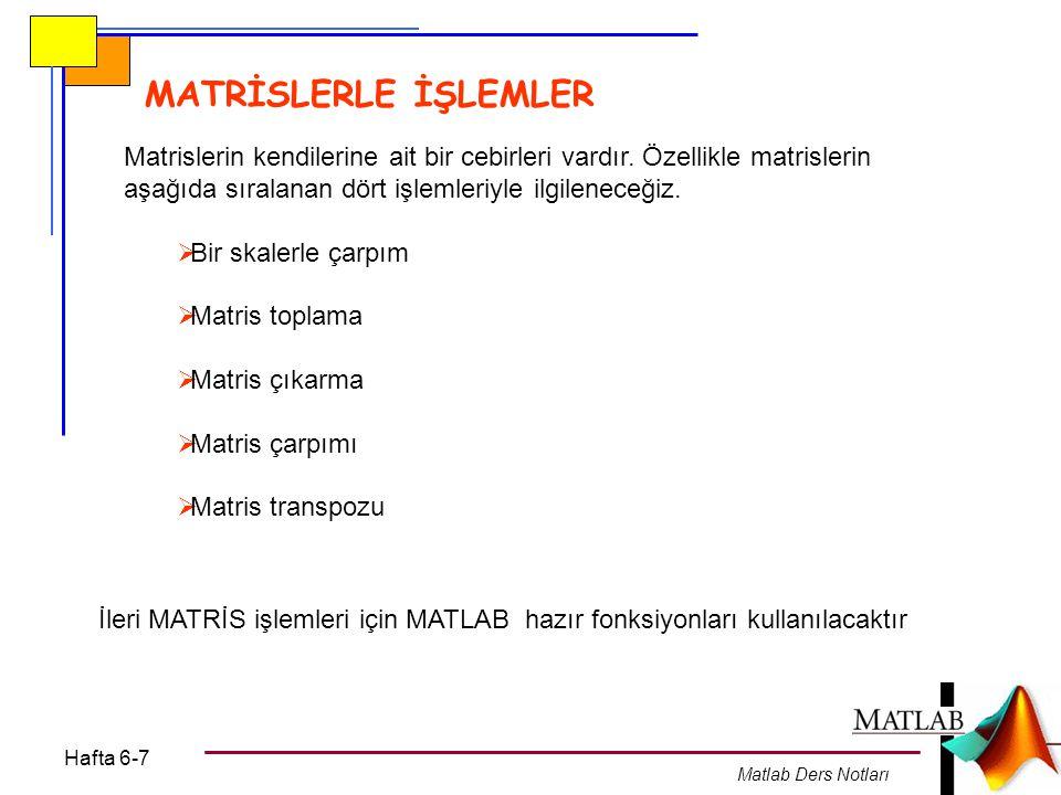 MATRİSLERLE İŞLEMLER Matrislerin kendilerine ait bir cebirleri vardır. Özellikle matrislerin aşağıda sıralanan dört işlemleriyle ilgileneceğiz.