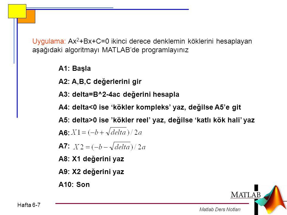 A3: delta=B^2-4ac değerini hesapla