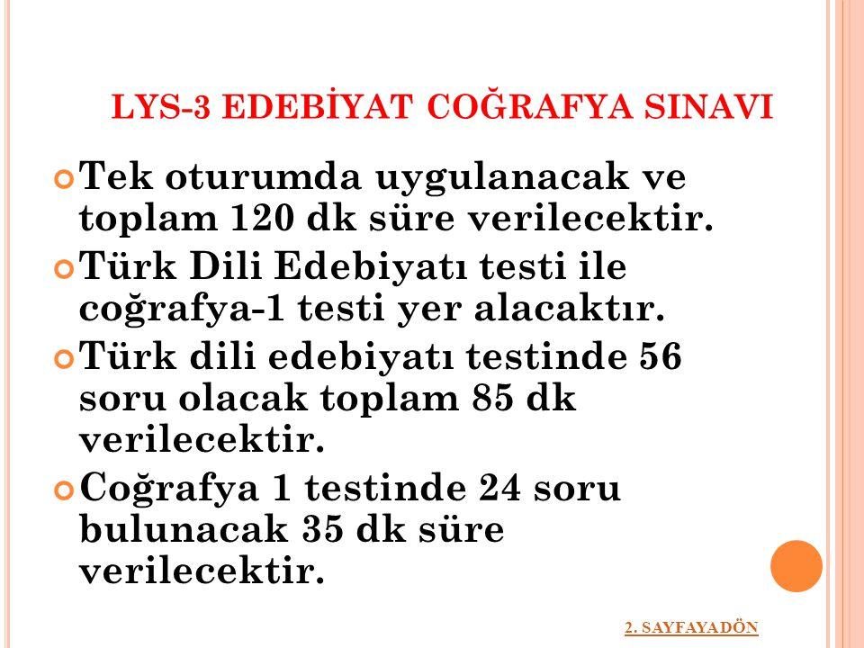 LYS-3 EDEBİYAT COĞRAFYA SINAVI