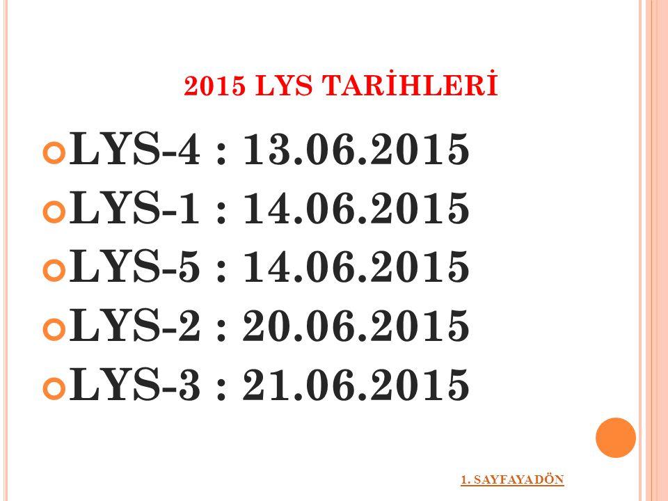 2015 LYS TARİHLERİ LYS-4 : 13.06.2015. LYS-1 : 14.06.2015. LYS-5 : 14.06.2015. LYS-2 : 20.06.2015.