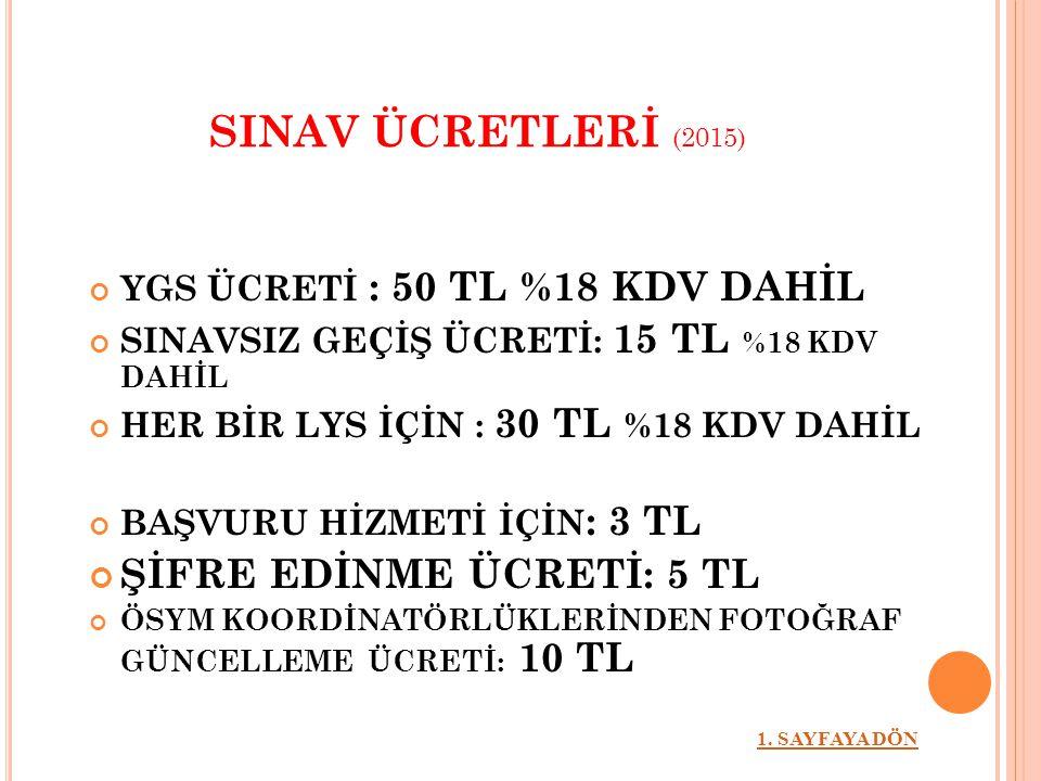 SINAV ÜCRETLERİ (2015) ŞİFRE EDİNME ÜCRETİ: 5 TL