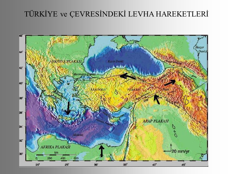 TÜRKİYE ve ÇEVRESİNDEKİ LEVHA HAREKETLERİ