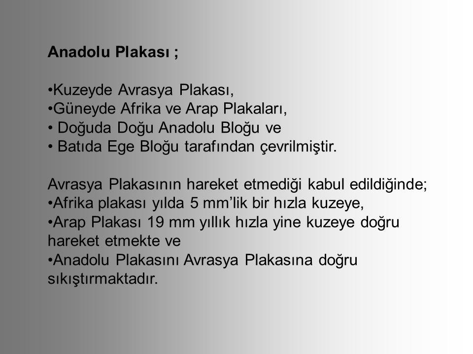 Anadolu Plakası ; •Kuzeyde Avrasya Plakası, •Güneyde Afrika ve Arap Plakaları, • Doğuda Doğu Anadolu Bloğu ve.