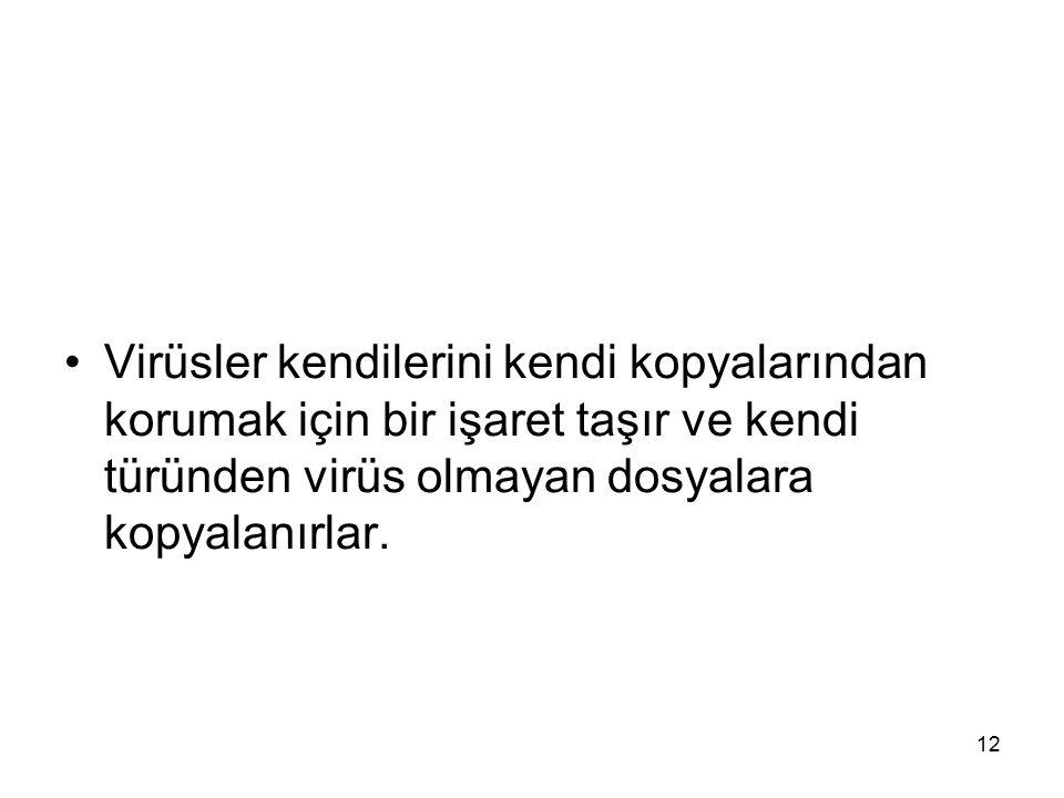 Virüsler kendilerini kendi kopyalarından korumak için bir işaret taşır ve kendi türünden virüs olmayan dosyalara kopyalanırlar.