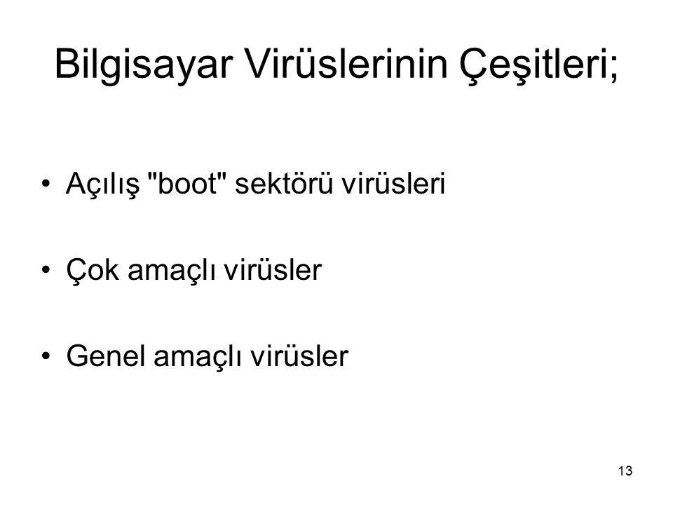 Bilgisayar Virüslerinin Çeşitleri;