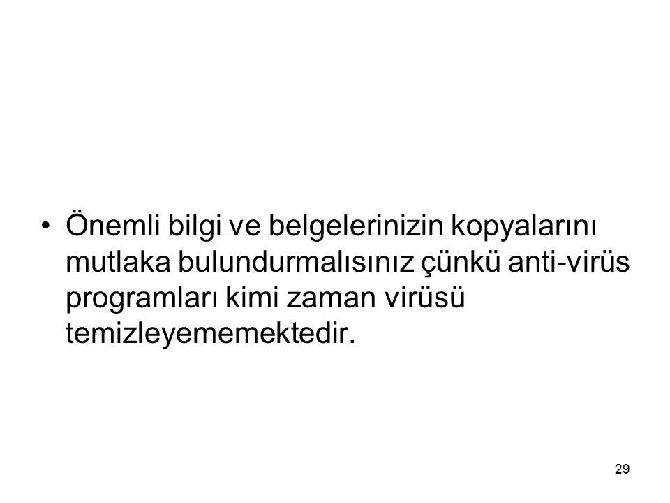 Önemli bilgi ve belgelerinizin kopyalarını mutlaka bulundurmalısınız çünkü anti-virüs programları kimi zaman virüsü temizleyememektedir.