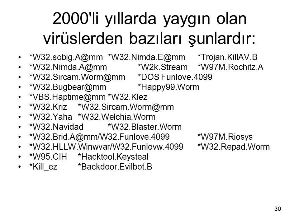 2000 li yıllarda yaygın olan virüslerden bazıları şunlardır: