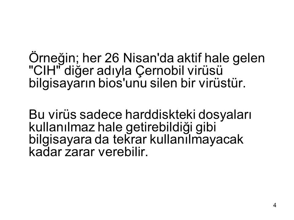 Örneğin; her 26 Nisan da aktif hale gelen CIH diğer adıyla Çernobil virüsü bilgisayarın bios unu silen bir virüstür.