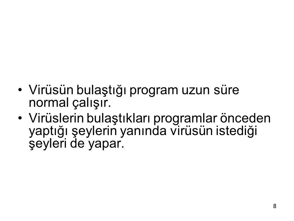 Virüsün bulaştığı program uzun süre normal çalışır.