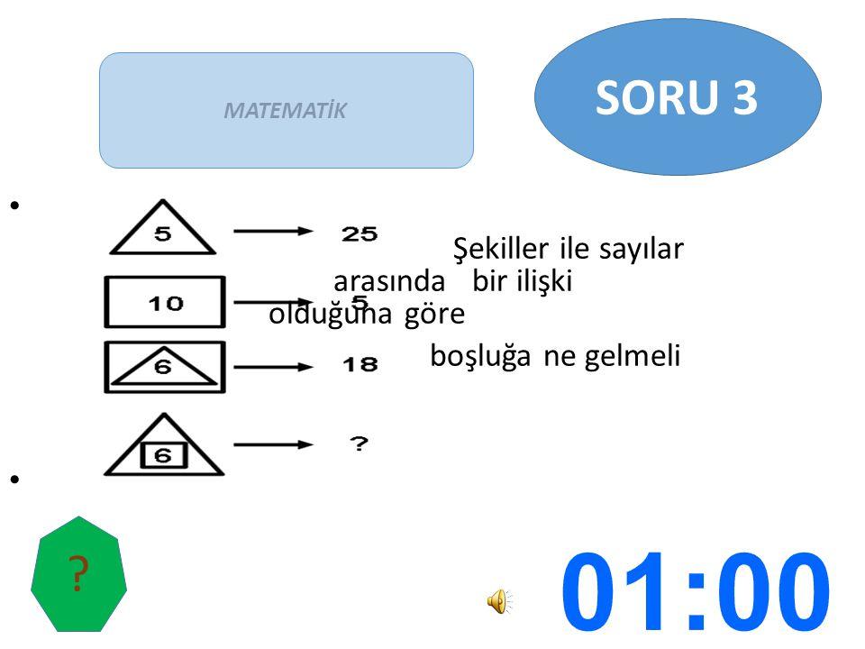 SORU 3 Şekiller ile sayılar arasında bir ilişki olduğuna göre