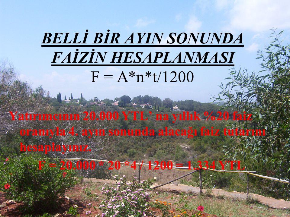 BELLİ BİR AYIN SONUNDA FAİZİN HESAPLANMASI F = A*n*t/1200