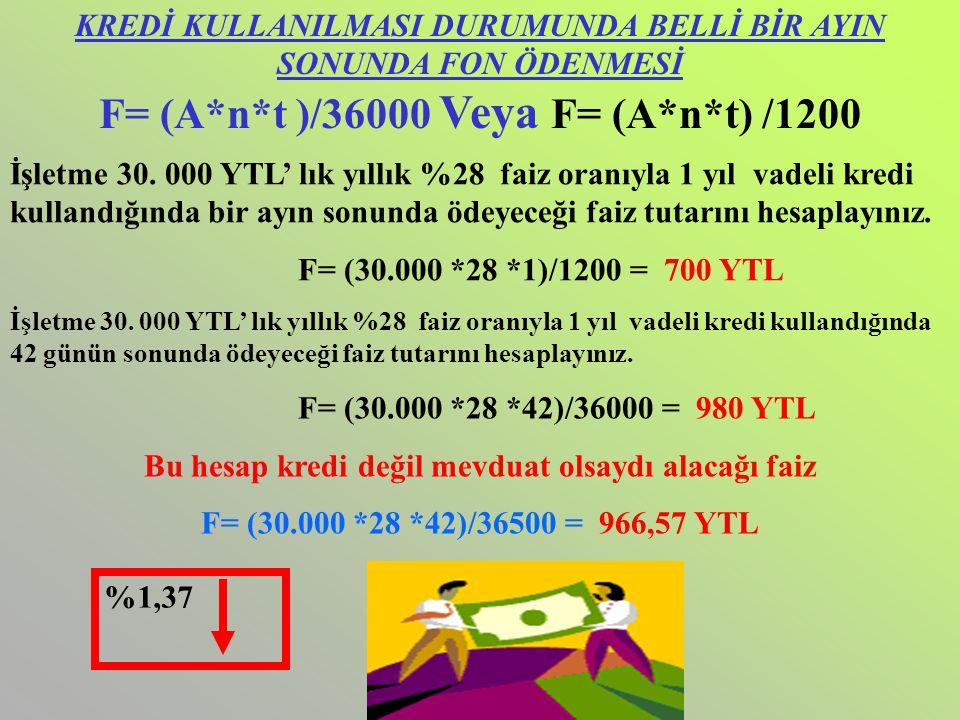 F= (A*n*t )/36000 Veya F= (A*n*t) /1200