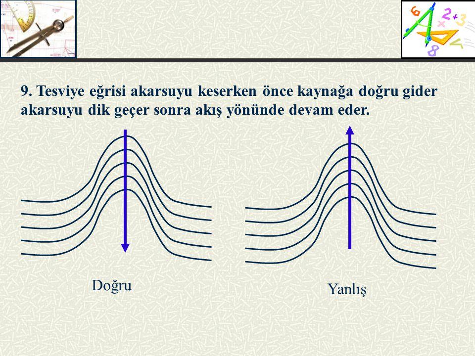 9. Tesviye eğrisi akarsuyu keserken önce kaynağa doğru gider akarsuyu dik geçer sonra akış yönünde devam eder.