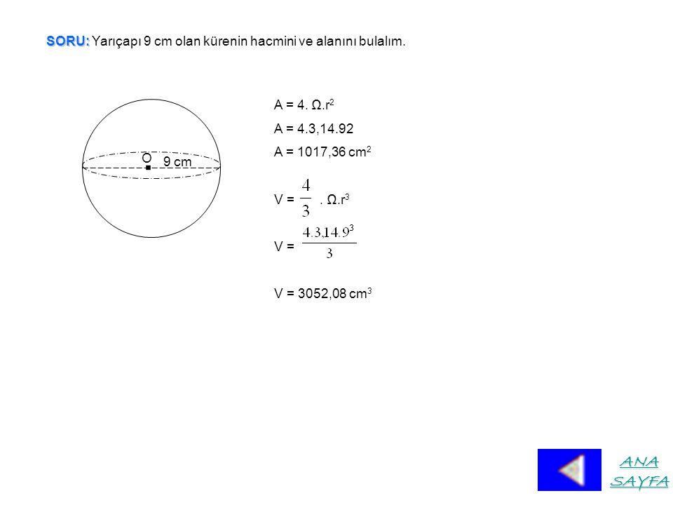 SORU: Yarıçapı 9 cm olan kürenin hacmini ve alanını bulalım.
