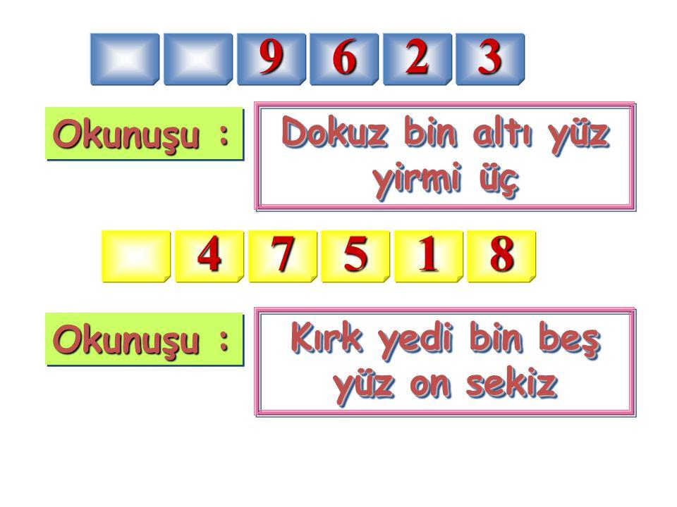 Dokuz bin altı yüz yirmi üç Kırk yedi bin beş yüz on sekiz