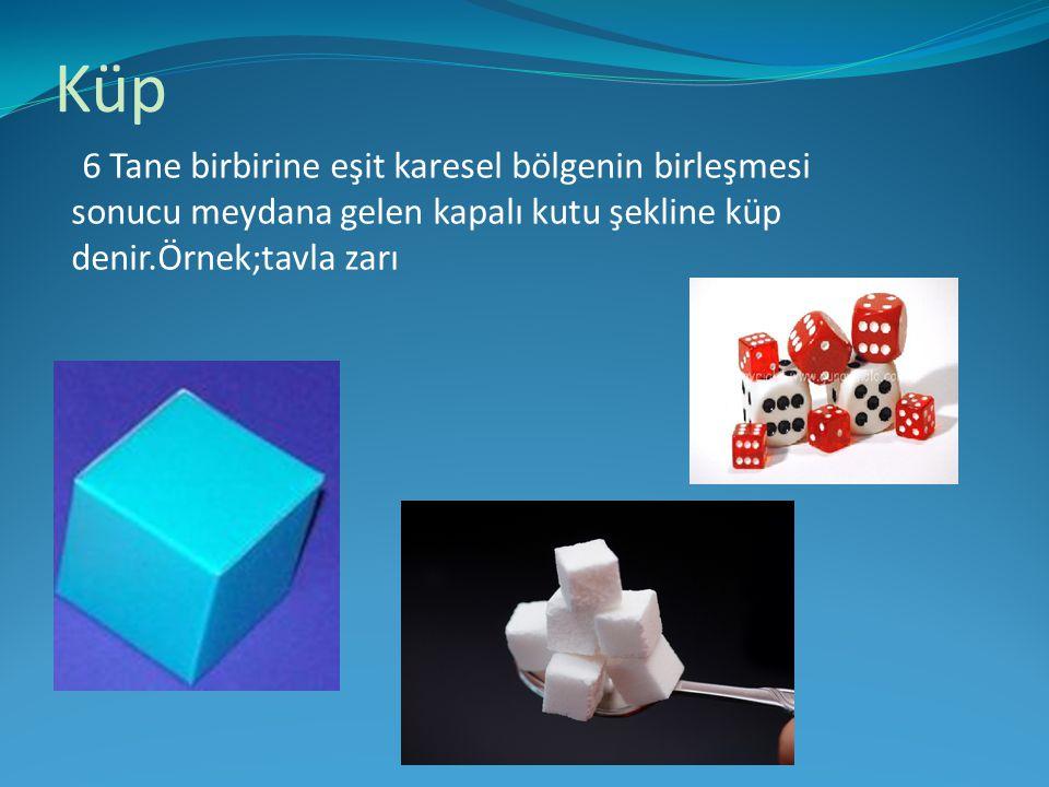Küp 6 Tane birbirine eşit karesel bölgenin birleşmesi sonucu meydana gelen kapalı kutu şekline küp denir.Örnek;tavla zarı.