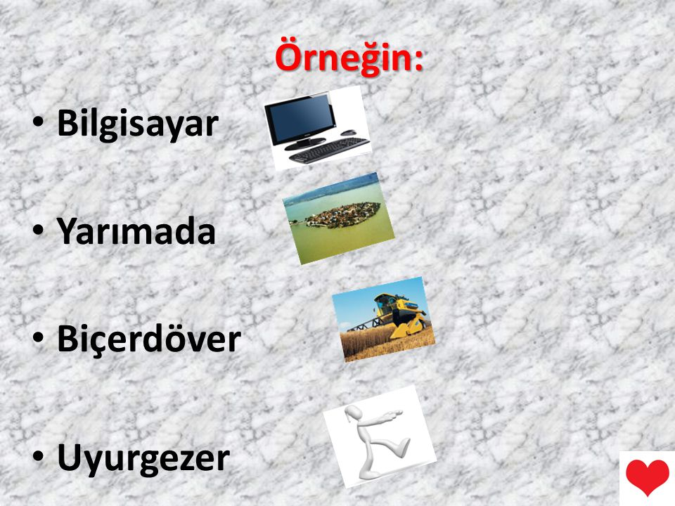 Örneğin: Bilgisayar Yarımada Biçerdöver Uyurgezer