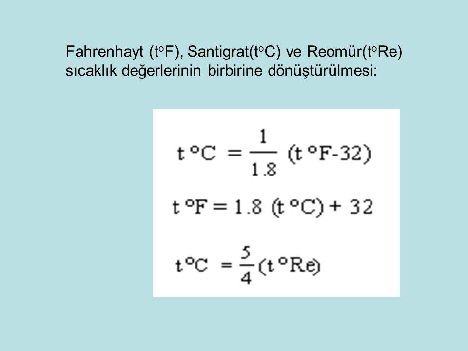 Fahrenhayt (toF), Santigrat(toC) ve Reomür(toRe)