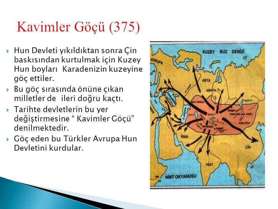 Kavimler Göçü (375) Hun Devleti yıkıldıktan sonra Çin baskısından kurtulmak için Kuzey Hun boyları Karadenizin kuzeyine göç ettiler.