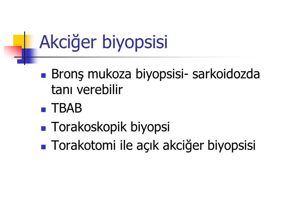 Akciğer biyopsisi Bronş mukoza biyopsisi- sarkoidozda tanı verebilir