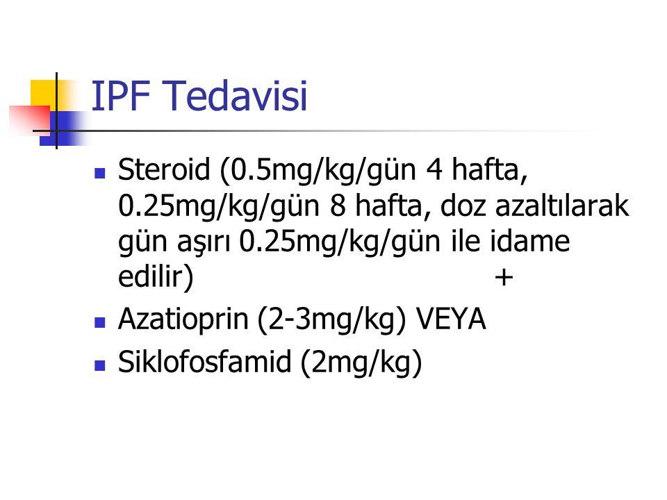 IPF Tedavisi Steroid (0.5mg/kg/gün 4 hafta, 0.25mg/kg/gün 8 hafta, doz azaltılarak gün aşırı 0.25mg/kg/gün ile idame edilir) +