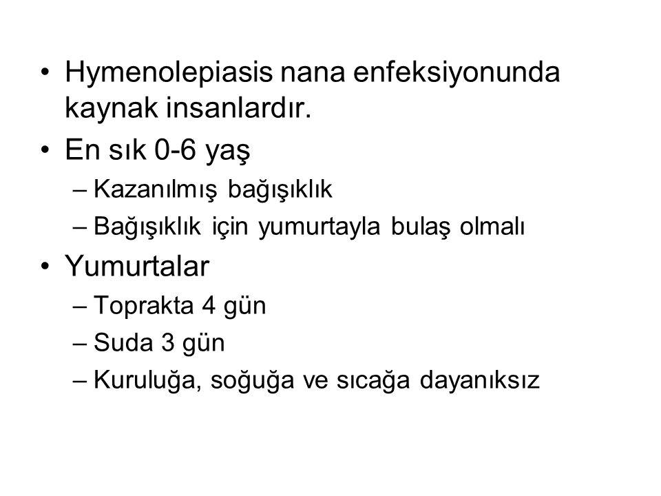 Hymenolepiasis nana enfeksiyonunda kaynak insanlardır. En sık 0-6 yaş