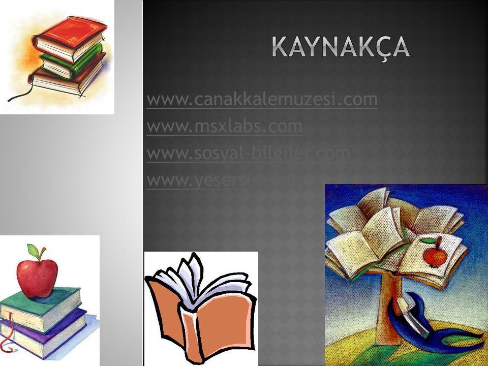 KAYNAKÇA www.canakkalemuzesi.com www.msxlabs.com
