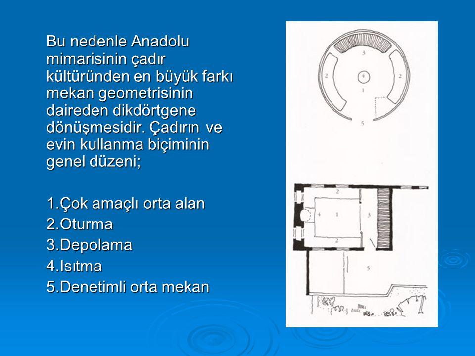 Bu nedenle Anadolu mimarisinin çadır kültüründen en büyük farkı mekan geometrisinin daireden dikdörtgene dönüşmesidir. Çadırın ve evin kullanma biçiminin genel düzeni;