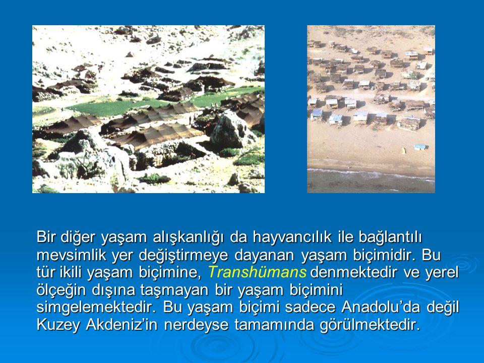 Bir diğer yaşam alışkanlığı da hayvancılık ile bağlantılı mevsimlik yer değiştirmeye dayanan yaşam biçimidir.