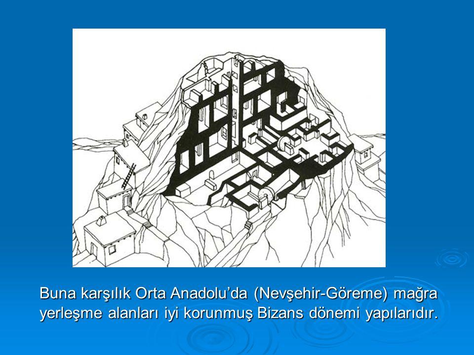 Buna karşılık Orta Anadolu'da (Nevşehir-Göreme) mağra yerleşme alanları iyi korunmuş Bizans dönemi yapılarıdır.