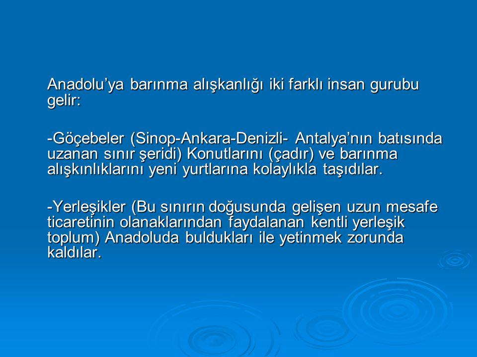Anadolu'ya barınma alışkanlığı iki farklı insan gurubu gelir: