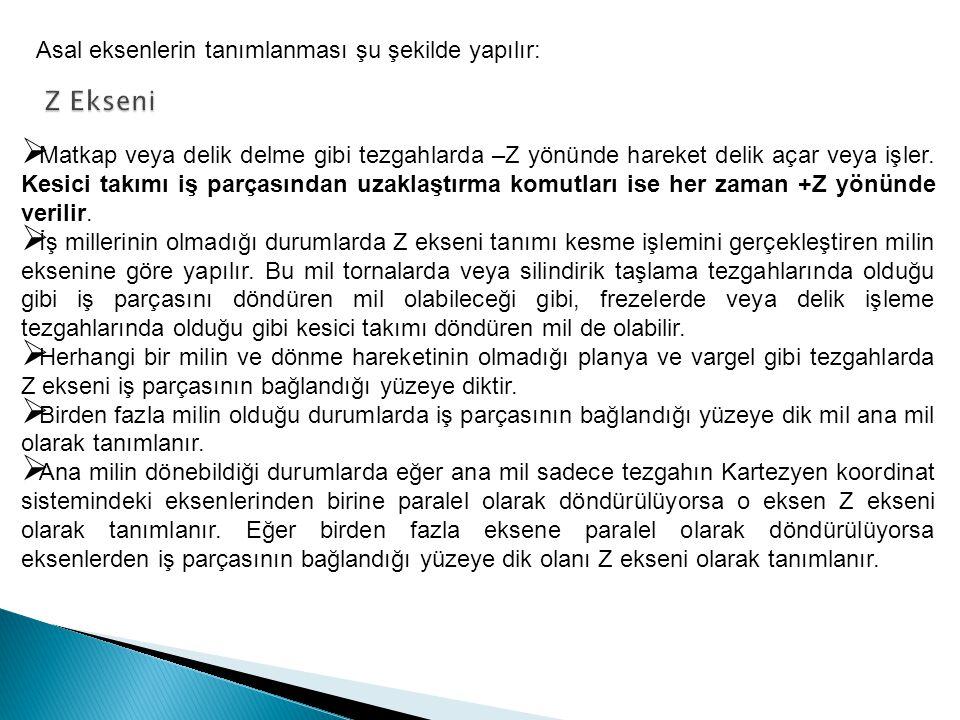 Z Ekseni Asal eksenlerin tanımlanması şu şekilde yapılır: