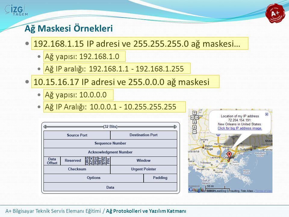 Ağ Maskesi Örnekleri 192.168.1.15 IP adresi ve 255.255.255.0 ağ maskesi… Ağ yapısı: 192.168.1.0. Ağ IP aralığı: 192.168.1.1 - 192.168.1.255.