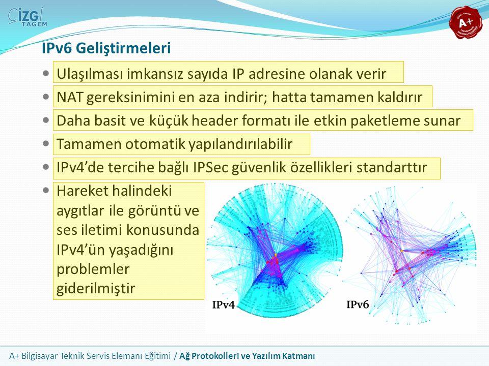 IPv6 Geliştirmeleri Ulaşılması imkansız sayıda IP adresine olanak verir. NAT gereksinimini en aza indirir; hatta tamamen kaldırır.