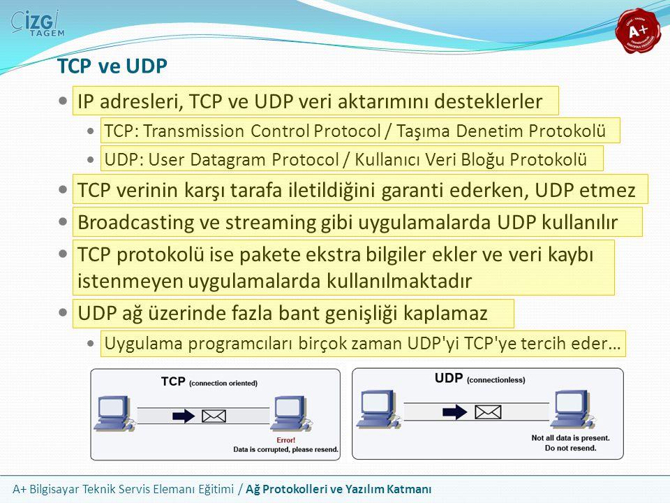 TCP ve UDP IP adresleri, TCP ve UDP veri aktarımını desteklerler