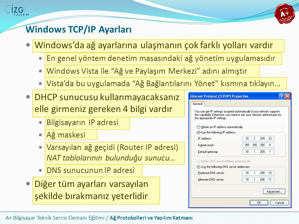 Windows TCP/IP Ayarları