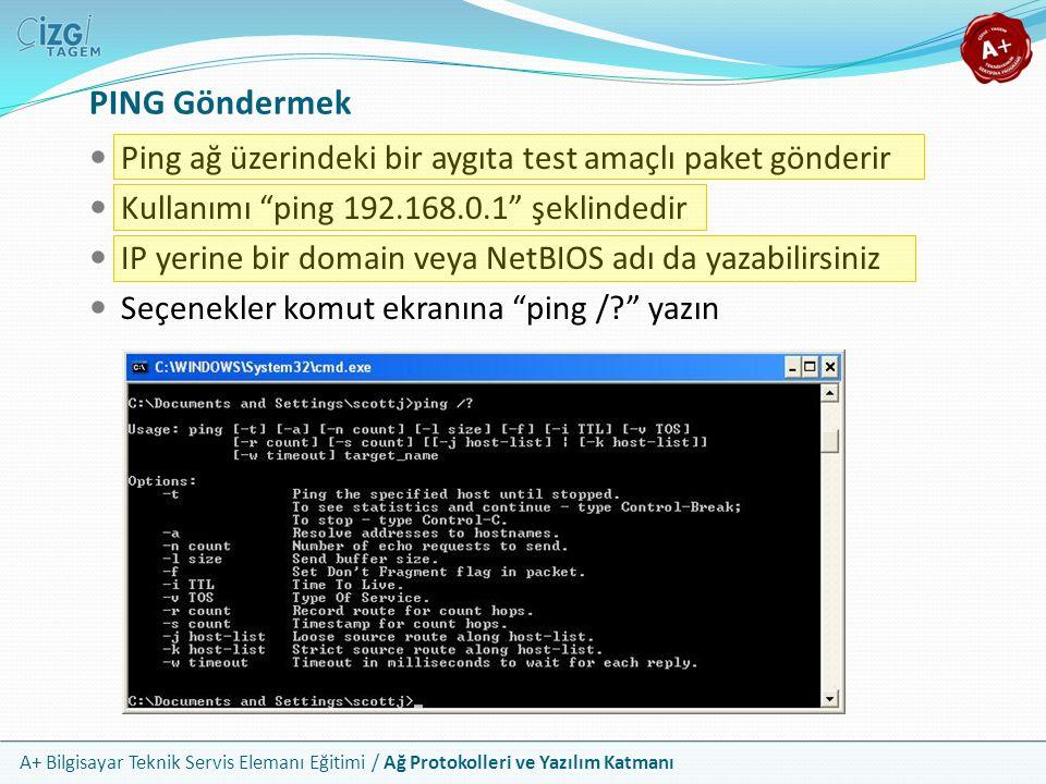 PING Göndermek Ping ağ üzerindeki bir aygıta test amaçlı paket gönderir. Kullanımı ping 192.168.0.1 şeklindedir.